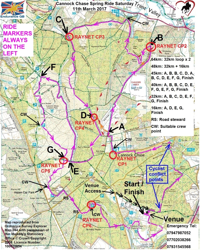 Cannock Chase Ride Map